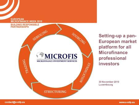 SOURCING SERVICING TRADING SYNDICATION STRUCTURING Setting-up a pan- European market platform for all Microfinance professional.