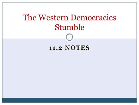 11.2 NOTES The Western Democracies Stumble. Standard and Objective 10.8.2 Understand the role of appeasement, nonintervention (isolationism), and the.
