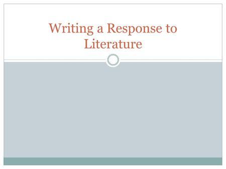 lit response essay