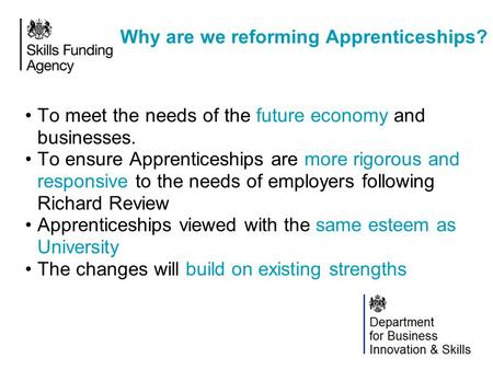 Why are we reforming Apprenticeships?