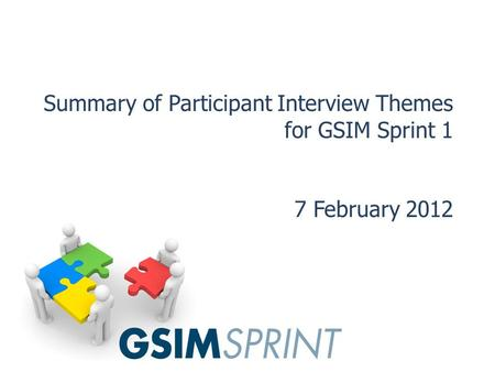 Summary of Participant Interview Themes for GSIM Sprint 1 7 February 2012.