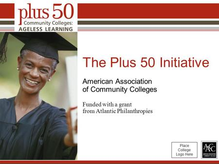 The Plus 50 Initiative American Association of Community Colleges Funded with a grant from Atlantic Philanthropies Place College Logo Here.