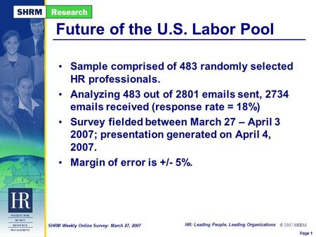 HR: Leading People, Leading Organizations © 2007 SHRM SHRM Weekly Online Survey: March 27, 2007 Future of the U.S. Labor Pool Sample comprised of 483 randomly.