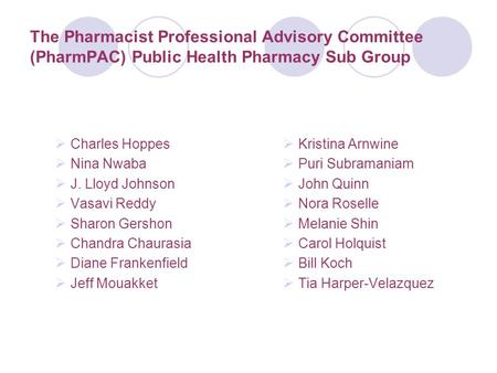 The Pharmacist Professional Advisory Committee (PharmPAC) Public Health Pharmacy Sub Group  Charles Hoppes  Nina Nwaba  J. Lloyd Johnson  Vasavi Reddy.