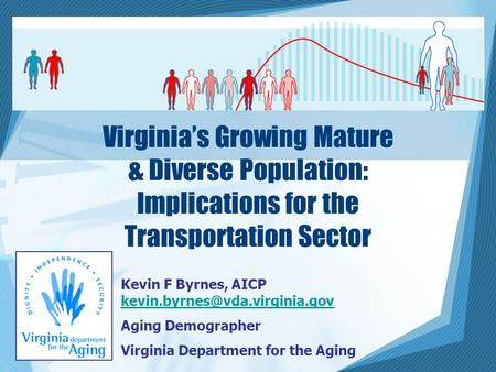 Virginia's Growing Mature & Diverse Population: Implications for the Transportation Sector Kevin F Byrnes, AICP