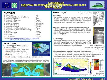 PARTNERS 1- CNR-ISMAR, Italy 2- Southampton Oceanography Centre, UK 3- University of Barcelona, Spain 4- University of Perpignan, France 5- University.