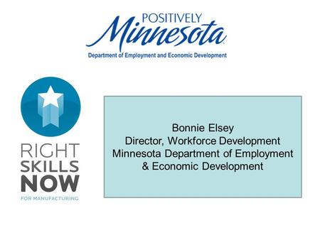 Bonnie Elsey Director, Workforce Development Minnesota Department of Employment & Economic Development.