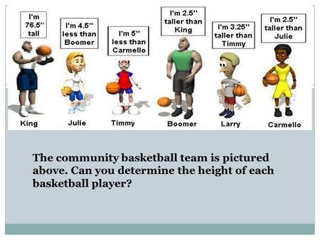 The community basketball team is pictured above. Can you determine the height of each basketball player?