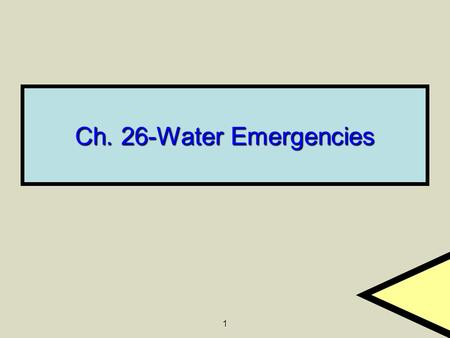 1 Ch. 26-Water Emergencies. 2 3 Vocabulary Near-drowning- Survival, at least temporarily, of near suffocation due to submersion Near-drowning- Survival,