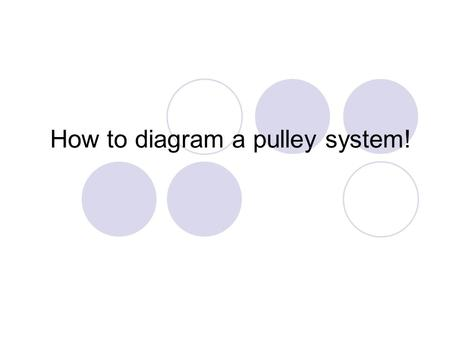 How to diagram a pulley system!. Anchor point The anchor point should be a solid black box fixed to a surface.