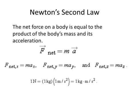 Newton's Second Law The net force on a body is equal to the product of the body's mass and its acceleration.