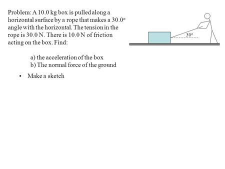 Make a sketch Problem: A 10.0 kg box is pulled along a horizontal surface by a rope that makes a 30.0 o angle with the horizontal. The tension in the rope.
