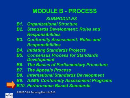 ASME C&S Training Module B10 MODULE B - PROCESS SUBMODULES B1.Organizational Structure B2.Standards Development: Roles and Responsibilities B3.Conformity.