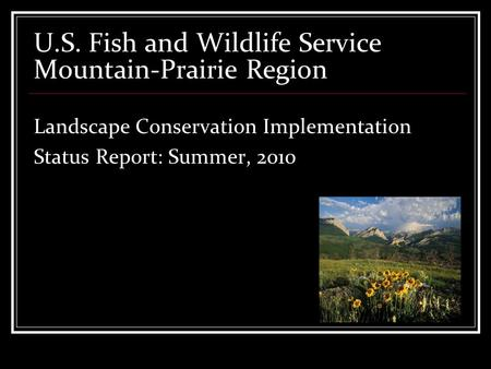 U.S. Fish and Wildlife Service Mountain-Prairie Region Landscape Conservation Implementation Status Report: Summer, 2010.