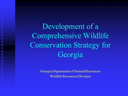 Development of a Comprehensive Wildlife Conservation Strategy for Georgia Georgia Department of Natural Resources Wildlife Resources Division.