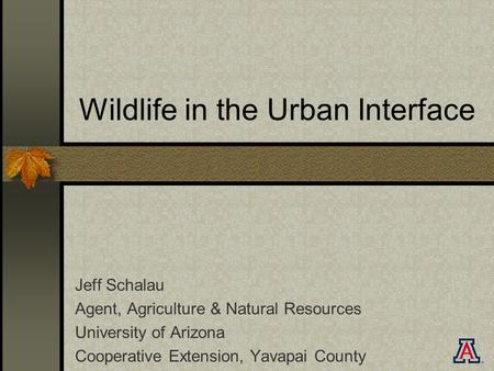 Wildlife in the Urban Interface Jeff Schalau Agent, Agriculture & Natural Resources University of Arizona Cooperative Extension, Yavapai County.