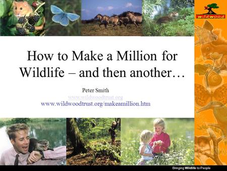 Bringing Wildlife to People How to Make a Million for Wildlife – and then another… Peter Smith www.wildwoodtrust.org www.wildwoodtrust.org/makeamillion.htm.