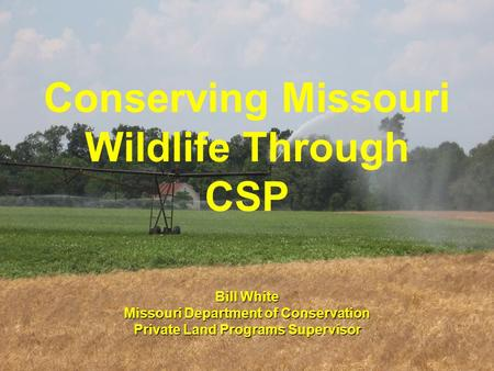 Conserving Missouri Wildlife Through CSP Bill White Missouri Department of Conservation Private Land Programs Supervisor.