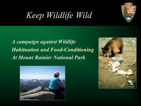 Keep Wildlife Wild A campaign against Wildlife Habituation and Food-Conditioning At Mount Rainier National Park.