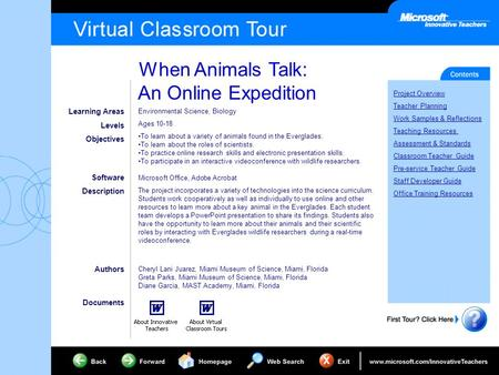 When Animals Talk: An Online Expedition Project Overview Teacher Planning Work Samples & Reflections Teaching Resources Assessment & Standards Classroom.