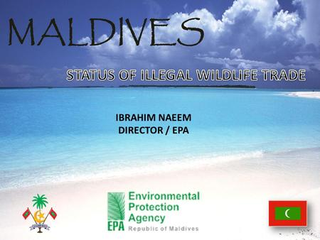 MALDIVES IBRAHIM NAEEM DIRECTOR / EPA. MINISTRY OF FISHERIES AND AGRICULTURE LOCAL COUNCILS ENVIRONMENTAL PROTECTION AGENCY.