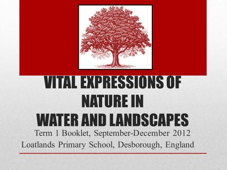 VITAL EXPRESSIONS OF NATURE IN WATER AND LANDSCAPES Term 1 Booklet, September-December 2012 Loatlands Primary School, Desborough, England.