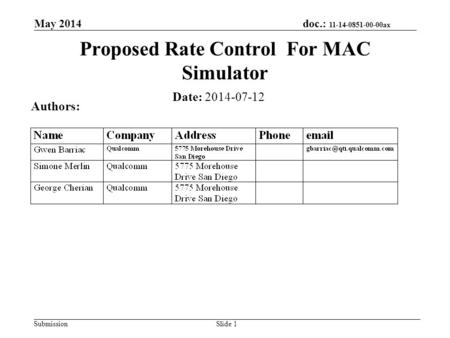 Doc.: 11-14-0851-00-00ax Submission May 2014 Slide 1 Proposed Rate Control For MAC Simulator Date: 2014-07-12 Authors: