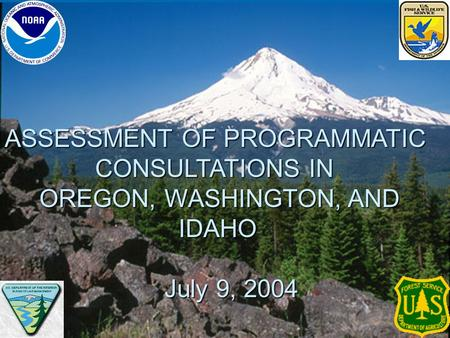 ASSESSMENT OF PROGRAMMATIC CONSULTATIONS IN OREGON, WASHINGTON, AND IDAHO IDAHO July 9, 2004 July 9, 2004.