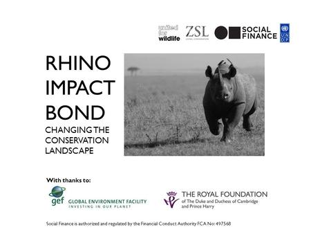 RHINO IMPACT BOND CHANGING THE CONSERVATION LANDSCAPE Social Finance is authorized and regulated by the Financial Conduct Authority FCA No: 497568 With.