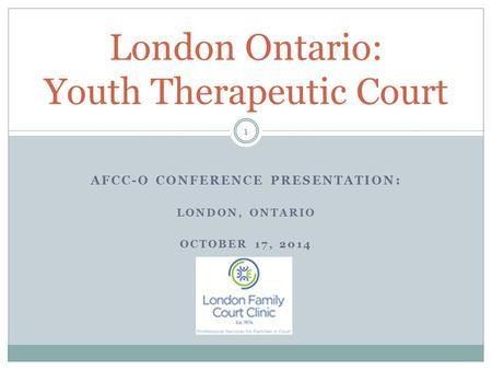 AFCC-O CONFERENCE PRESENTATION: LONDON, ONTARIO OCTOBER 17, 2014 London Ontario: Youth Therapeutic Court 1.