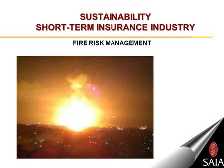 SUSTAINABILITY SHORT-TERM INSURANCE INDUSTRY FIRE RISK MANAGEMENT.