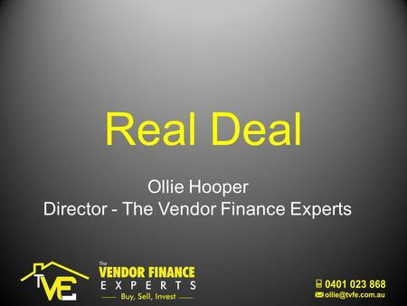 Real Deal Ollie Hooper Director - The Vendor Finance Experts.