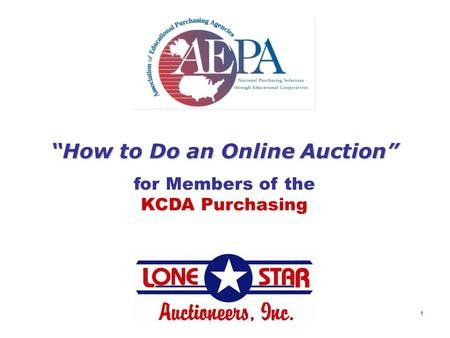 "1 ""How to Do an Online Auction"" for Members of the KCDA Purchasing."