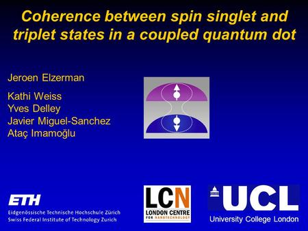 Coherence between spin singlet and triplet states in a coupled quantum dot University College London Jeroen Elzerman Kathi Weiss Yves Delley Javier Miguel-Sanchez.