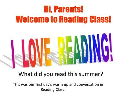 What did you read this summer? Hi, Parents! Welcome to Reading Class! This was our first day's warm up and conversation in Reading Class!