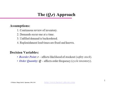 © Wallace J. Hopp, Mark L. Spearman, 1996, 2000  1 The (Q,r) Approach Assumptions: 1. Continuous review of inventory. 2.