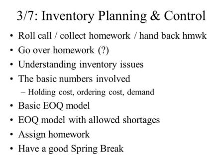 3/7: Inventory Planning & Control