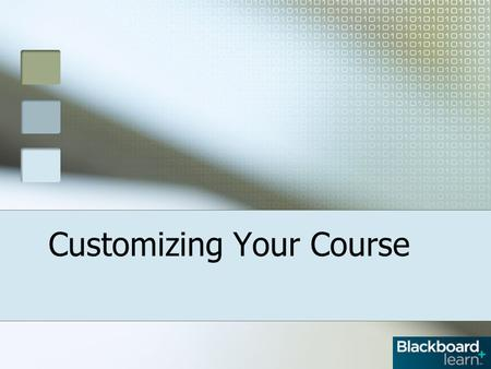 Customizing Your Course. Overview The Control Panel Customize the Course Style Select a Content View Select Course Entry Add a Banner to Course Entry.