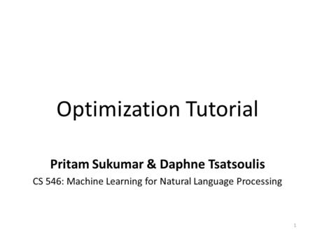 Optimization Tutorial