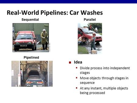 Real-World Pipelines: Car Washes Idea  Divide process into independent stages  Move objects through stages in sequence  At any instant, multiple objects.