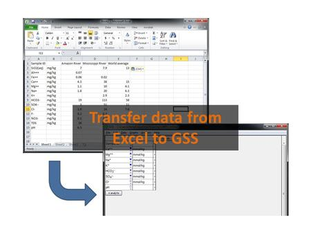 Transfer data from Excel to GSS. You can move your geochemical data from Excel to GSS.