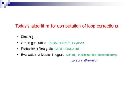 Today's algorithm for computation of loop corrections Dim. reg. Graph generation QGRAF, GRACE, FeynArts Reduction of integrals IBP id., Tensor red. Evaluation.