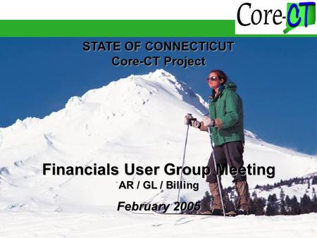 STATE OF CONNECTICUT Core-CT Project Financials User Group Meeting AR / GL / Billing February 2005.