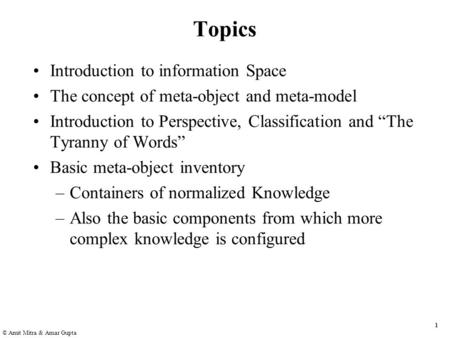 1 © Amit Mitra & Amar Gupta Topics Introduction to information Space The concept of meta-object and meta-model Introduction to Perspective, Classification.
