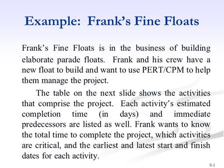 8-1 Example: Frank's Fine Floats Frank's Fine Floats is in the business of building elaborate parade floats. Frank and his crew have a new float to build.