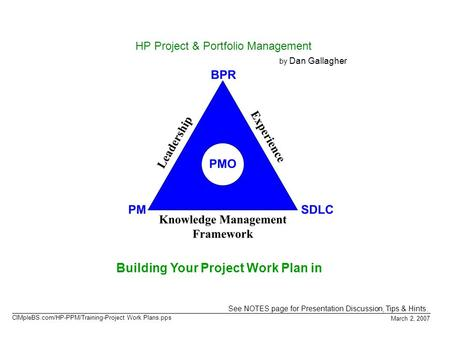Building Your Project Work Plan in March 2, 2007 HP Project & Portfolio Management by Dan Gallagher See NOTES page for Presentation Discussion, Tips &