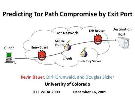 Predicting Tor Path Compromise by Exit Port IEEE WIDA 2009December 16, 2009 Kevin Bauer, Dirk Grunwald, and Douglas Sicker University of Colorado Client.