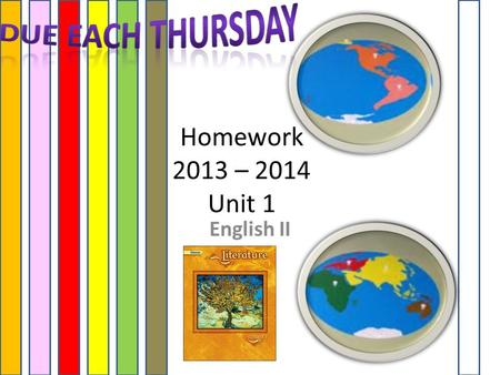 Homework 2013 – 2014 Unit 1 English II. HOMEWORK Each Week USE YOUR GLENCOE TEXT! (Assigned on Monday DUE on Thursday of the same week)  Bio – Summary.
