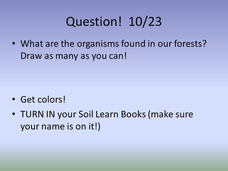 Question! 10/23 What are the organisms found in our forests? Draw as many as you can! Get colors! TURN IN your Soil Learn Books (make sure your name is.