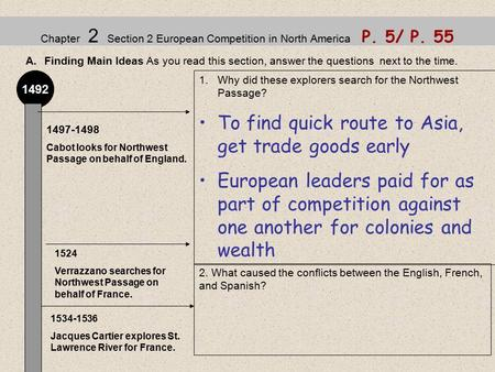 Chapter 2 Section 2 European Competition in North America P. 5/ P. 55 A.Finding Main Ideas As you read this section, answer the questions next to the time.